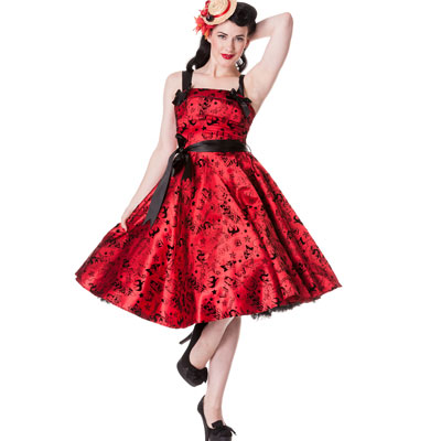 Tattoo Flock Red - Vestido rockabilly rojo oscuro