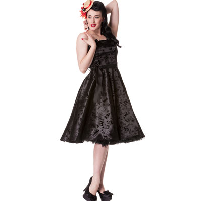 Tattoo Flock Black - Vestido rockabilly negro