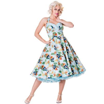 Sassy Tropical Blue - Vestido años 50 en azul