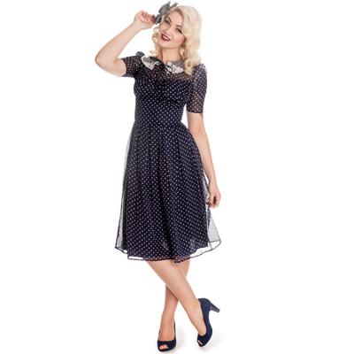 Cynthia - Vestido de gasa azul estilo años 40