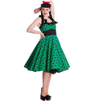 Adelaide - Vestido pin up verde a lunares