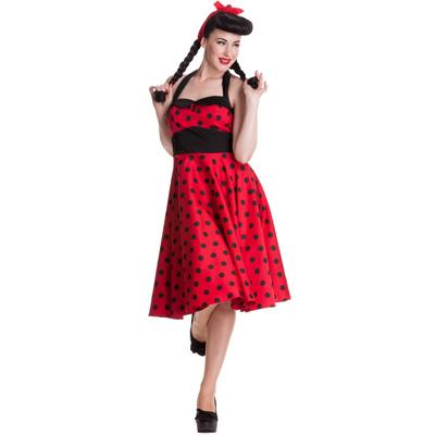 Adelaide - Vestido pin up rojo a lunares