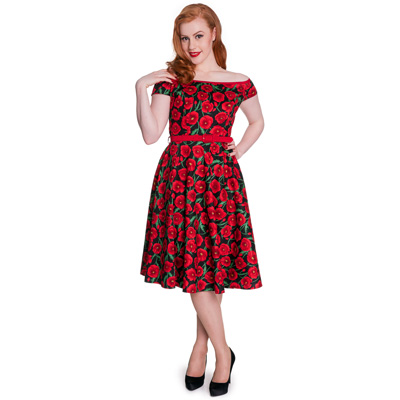 Cordelia - Vestido de fiesta estilo lady rojo