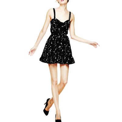 Kelis Black - Vestido negro corto estampado con estrellitas