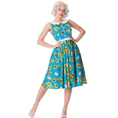 Sunrise - Vestido años 50 azul con estampado