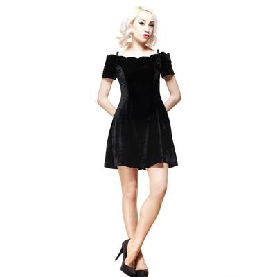Jessica - Vestido negro de terciopelo noble