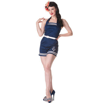 Anchored Playsuit - Mono estilo pin up en azul marino