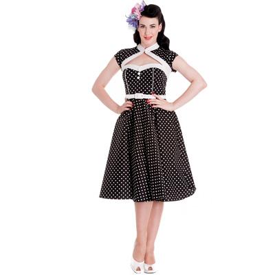 Melanie - Vestido vintage en negro con lunares blancos