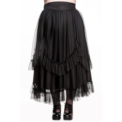 Eleanor - Falda gotica negra de tul moteado en talla grandes