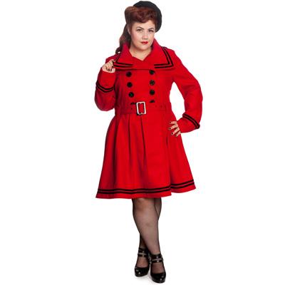 New Millie Plus - Abrigo vintage rojo en tallas grandes