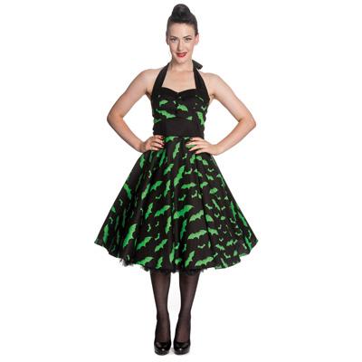 Bat - Vestido negro con murcielagos verdes