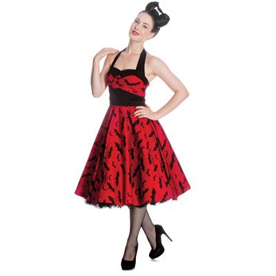 Bat - Vestido rojo con murcielagos negros estilo rockabilly
