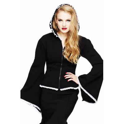 Hoodie - kimono sudadera en negro con encaje en blanco