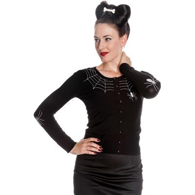 Spider - Cardigan negro con bordados de telarañas