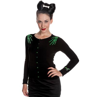 Doomed - Cardigan negro con bordados verdes de esqueleto
