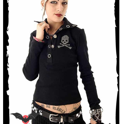 Punisher Skull - Polo rock ajustado negro con calavera
