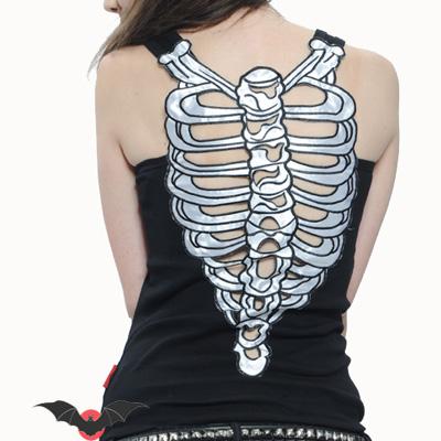 Sexy Bones - Camiseta emo dark con motivo de costillas atrás