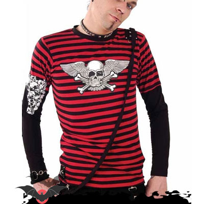 Demon - Camiseta alternativa de manga larga estilo punk en rojo
