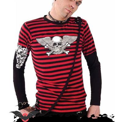 Demon - Camiseta alternativa de manga larga estilo punk en rojo 33575db0719