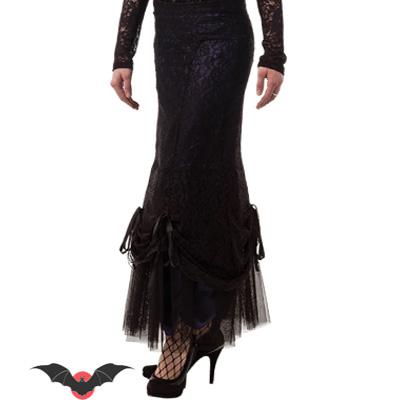 Magnolia - Falda larga steampunk en negro y violeta
