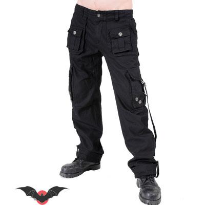 Dark Combat - Pantalón heavy negro con grandes bolsillo