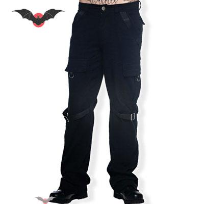 Black Rock - Pantalon punk vaquero negro largo