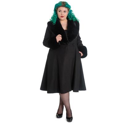Shonna Plus - Abrigo gotico negro en tallas grandes