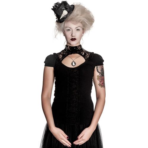 Tymore - Camiseta gótica con encajes