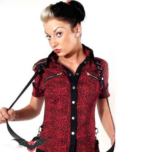 Bloody Angel - Camisa punk rock de leopardo