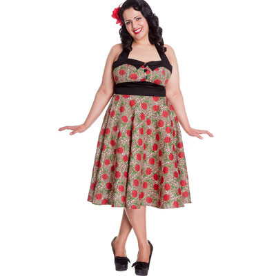 Charlie 50s - Vestido pin up estampado en tallas grandes