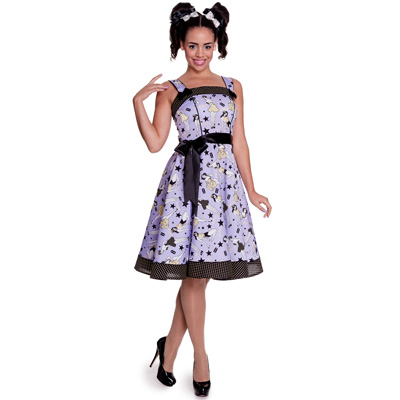 8644fe2e5 Dixie 50s - Vestido años 50 estampado en lila