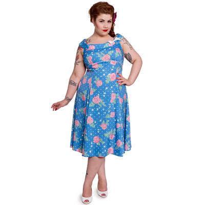 Darlene Blue - Vestido estampado flores en tallas grandes