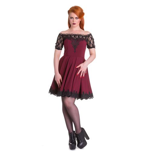 Amara - Vestido gótico de encaje en burdeos