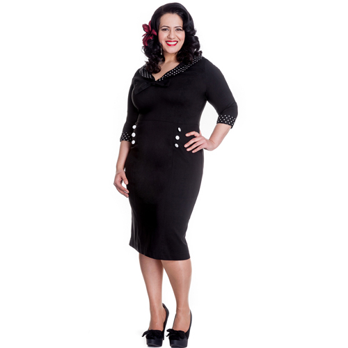 Thelma Black PLUS - Vestido pin up ajustado en tallas grandes