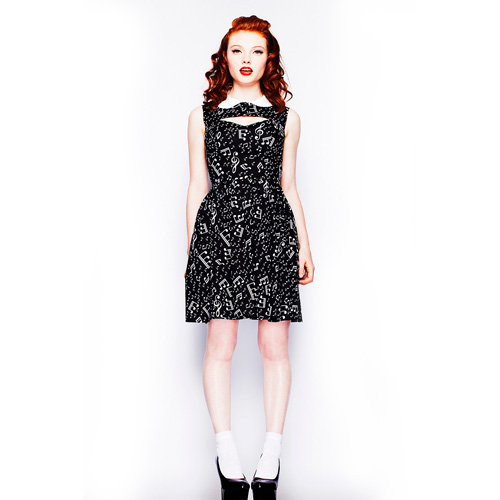Presley - Vestido pin up negro estampado en negro