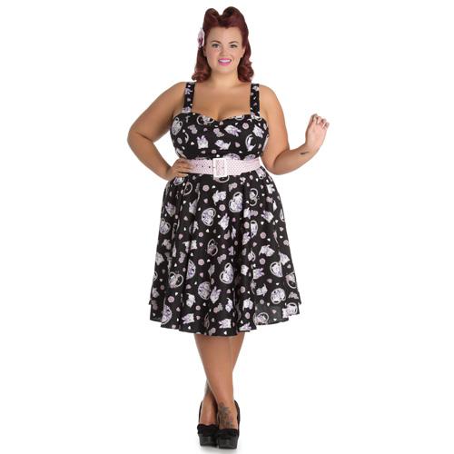 Amalia Plus - Vestido vintage en tallas grandes en negro