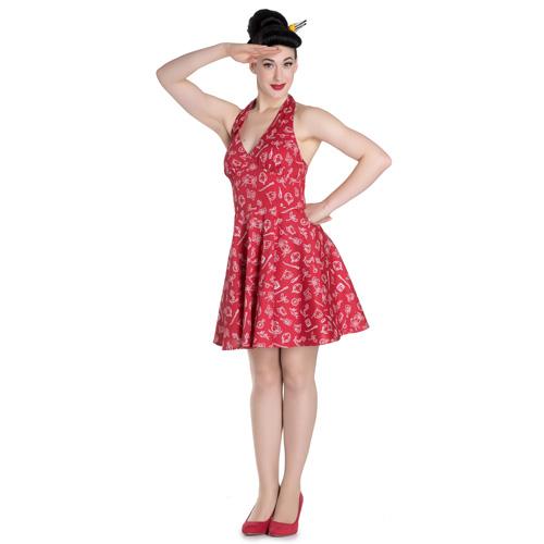 Marin - Vestido vintage marinero en rojo